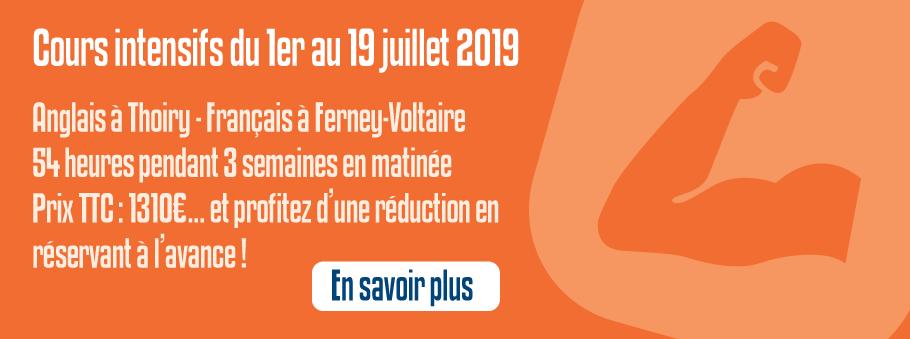 Cours intensifs du 1er au 19 juillet 2019